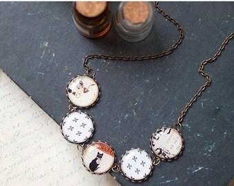 Black Cat necklace - Black and Orange necklace (BN012)