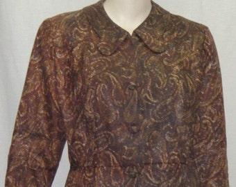 CHRISTMAS SALE Vintage British Lady 2 Piece Career Suit 1940's Paisley Large Skirt Jacket