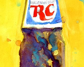RC Crown Cola - Vintage - Art Print from Original Watercolor - Kitchen Bar