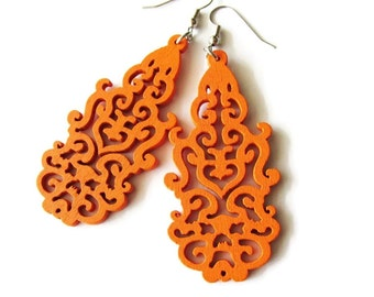 Orange Wooden Oriental Style Earrings