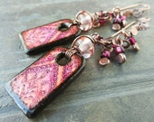 Bohemian Pink Earrings Gypsy Print with Raspberry Glass and Antiqued Copper