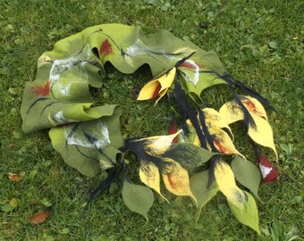 merino wool scarf / Floral felt scarf/ wrap / felt brooch /autumn /winter/green/yellow flowers/ merino wool