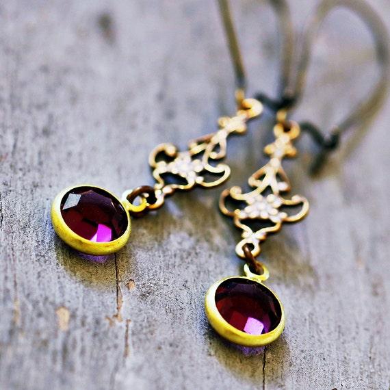 Amethyst Purple Vintage Charm Earrings, Antiqued Brass Filigree, Lightweight, Victorian, Romantic