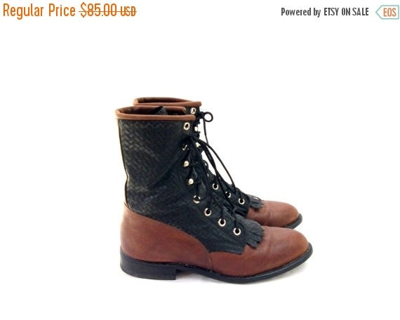 SALE Capezio Roper Boots Size 7 Fringed Kiltie Boots Two Tone Black and Brown