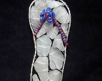 Sea Glass Flip Flop Suncatcher Ornament in Red, White and Blue, with  Cobalt Blue Sea Glass Flower, Patriotic decor