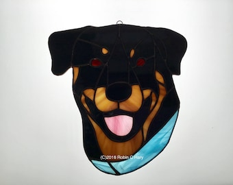 Rottweiler Suncatcher in Stained Glass