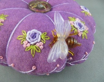 SOLD Primitive Roses Purple Pincushion/ Glass Dragonfly button/ Life size Bee