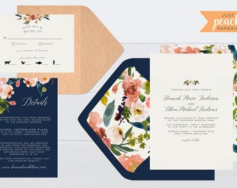 Blush and Navy Floral Wedding Invitation | printable | watercolor flowers | peonies