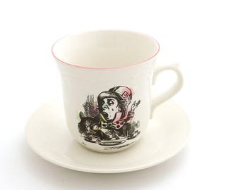 Alice in Wonderland teacup and saucer -  mad hatter  - we're all mad here - Lewis Carroll through the looking glass book lover tea party