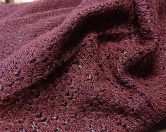 Dark Burgungy Stretch Knit Fabric, Stretch Knit Lace Fabric, Sweater Knit Fabric, Fabric Yardage, 2+ Yards