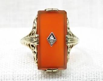 Victorian 10k Gold Carnelian and Diamond Filigree Ring