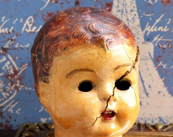 Hello, Ms. CREEPINESS...  antique composition doll head... c. 1800...  parts altered art...  doll making...     L T 16