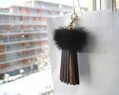 Leather Tassel Fur Keychain Bag Charm Tassel Keychain Brown Leather Tassel with Genuine Mink Fur Bag Purse Gifts for Her Charm Fur