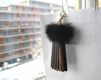 Leather Tassel Fur Bag Charm Tassel Keychain Brown Leather Tassel with Genuine Mink Gifts for Her