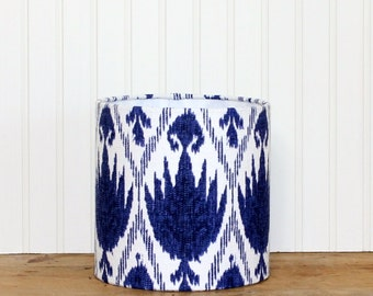 Ikat Drum Shade - Moroccan - Blue and White - Blue Lamp Shade - Modern - Lampshade -Blue Ikat Lamp Shade - Small Drum Shade - Ready to Ship