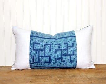 Hmong Pillow - Hemp - Blue Pillow - Vintage - Linen - Decorative Pillow - 12x20 - Ethnic -Batik Pillow - Boho - Linen