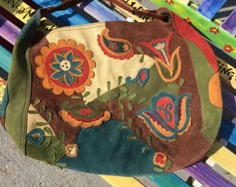 Hippie Patchwork Leather Hobo Bag Purse