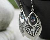 Black Friday Sale 15% Silver Chandelier Earrings, Mystic Quartz Stone, Indigo Blue, Bohemian Earrings, Boho Chic, Dangle Earrings