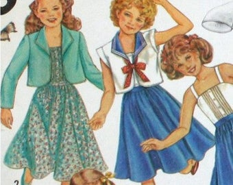 Vintage 1980s, Sewing Pattern, Simplicity 5468, Sundress and Unlined Jacket, Girl's Size 14