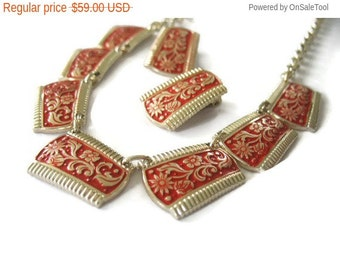 Holiday Sale Red Enamel Necklace & Earrings Set Eloxal Aluminum Germany 1940's Goldtone