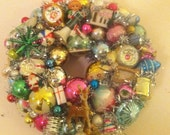 Mid Century Vintage Ornament Bulb Wreath Reserved for Laura