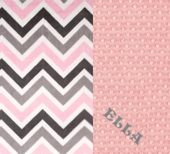 Baby Girl Personalized Baby Blanket, Kids Minky Blanket, Pink Gray Minky Baby Blanket, Chevron Baby Blanket, Name Baby Blanket, Baby Gift