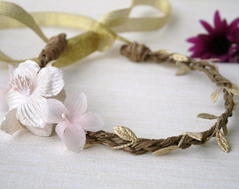 Bridal Flower Vine Crown Plaited with Gold Leaf Trim and Pink and Creamy White Flowers