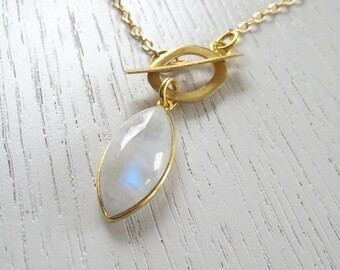 Genuine Rainbow Moonstone Pendant Necklace in 24K Gold Vermeil Bezel