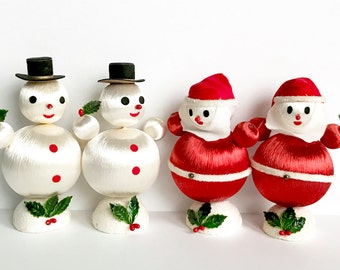 Vintage Snowman Santa Claus Christmas Figurines Silk Wrapped Ornaments Satin Balls