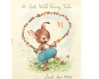 Vintage Get Well Card Fairy Tale Greeting Card Bunny Rabbit Animals