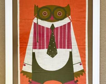 Vintage Tea Towel Owl Wall Hanging Decor Textile All Irish Linen Swedish Design