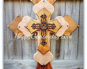Wood Cross - Wall CROSS - X-Large - Medium Brown Stain and Religious wording, with large iron cross