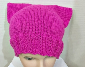 Cat Hat Kitty Cat Cap Hot Pink Fuscia Adult Teen Womens March on Washington READY TO SHIP Pussy Hat Project hand knit hat knitting