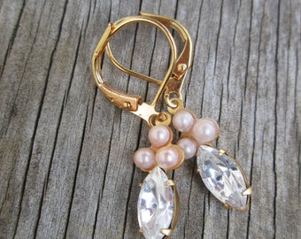 Vintage Style Tiny Pink Pearl  Clear Crystal Petite Drop Earrings Gold Tone