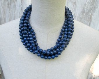 Chunky Navy Blue Layered Multi Strand Beaded Necklace