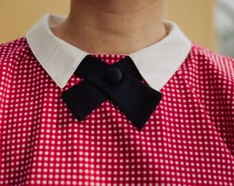 Womens Bow Tie in dark blue, ladies tie necktie, bolo ties