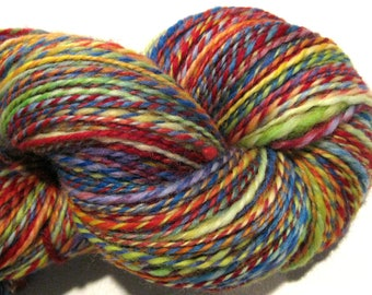 Handspun yarn, Woodstock, DK weight, 2 ply, 424 yards, BFL wool yarn,  knitting supplies, rainbow yarn, roygbv, crochet supplies, weaving
