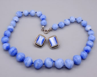 Vintage Striated Art Glass Bead Necklace Blues, Western Germany with Earrings