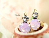 Rhinestone Charms Set Stones Earring Dangles Round Crystal Connectors Brass Settings 15x9mm Crystal Clear & Rose Water Opal - 2