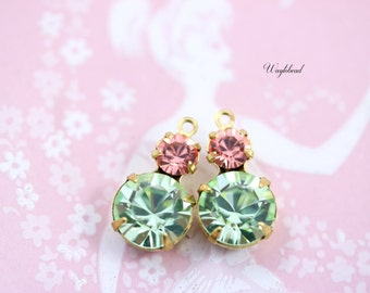 Rhinestone Charms Set Stones Earring Dangles Round Crystal Connectors Drops  15x9mm Brass Settings Rose Peach & Chrysolite - 2