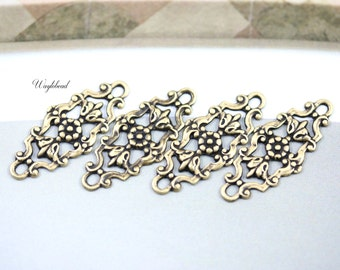 Antique Brass Filigree Floral Botanical Flower Charms 29x12mm Connectors Links - 4