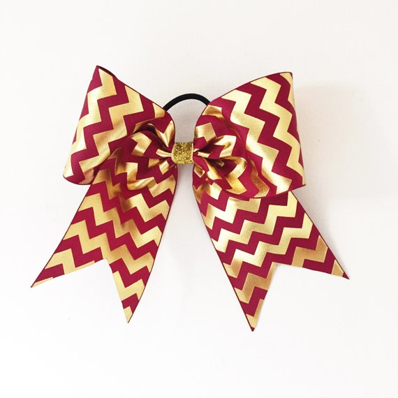 "Big 3"" Maroon and Shiny Gold Chevron Girls Cheer Bow Softball Bow Ponytail Holder"