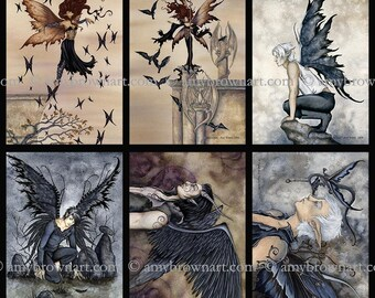 5x7 Goth fairy SET by Amy Brown