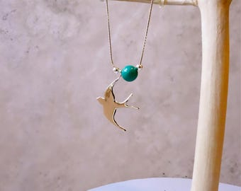 Swallow Necklace, Turquoise Necklace, Turquoise, Bird Necklace, Necklace, Swallow Necklace, Bird Necklace, Swallow, Silver