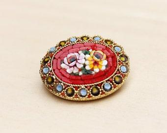 Micro Mosaic Brooch, Flower Brooch, Italy Brooch, Mosaic Brooch, Mosaic Pin