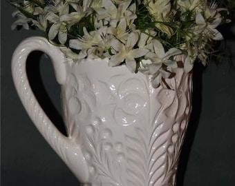 Cottage Chic White Ceramic Pitcher or Vase