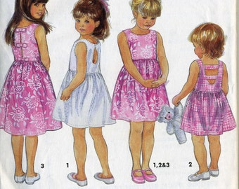 Simplicity 8449 UNCUT Girls Summer Dress with Back Interest Sewing Pattern Size 5-6x