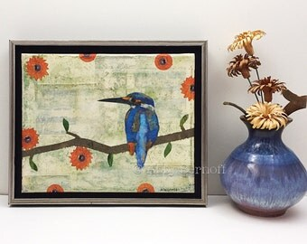 Kingfisher Bird Art Original Mixed Media Collage Framed