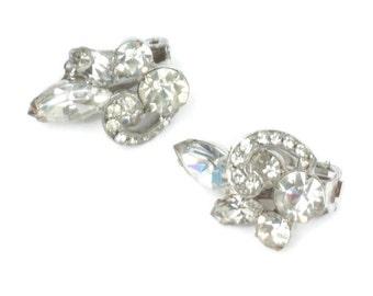 Ribbon Overlay Rhinestone Earrings Clip On Bridal Wedding Vintage