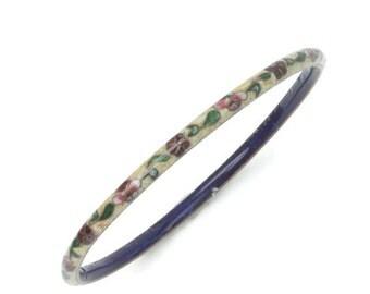 Floral Cloisonne Bangle Bracelet Skinny Slender Stacking Vintage